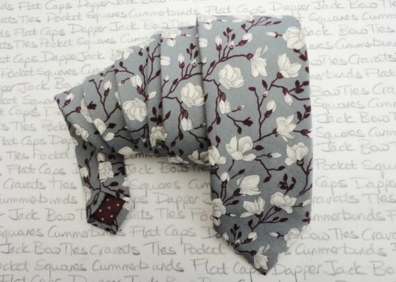 Neck tie, burgundy and cream floral design on grey, ties for men, wedding ties for men, skinny ties, slim ties standard width ties
