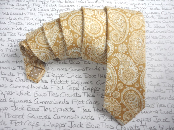 Ties for men, classy gold paisley print slim neck tie, paisley tie, wedding tie