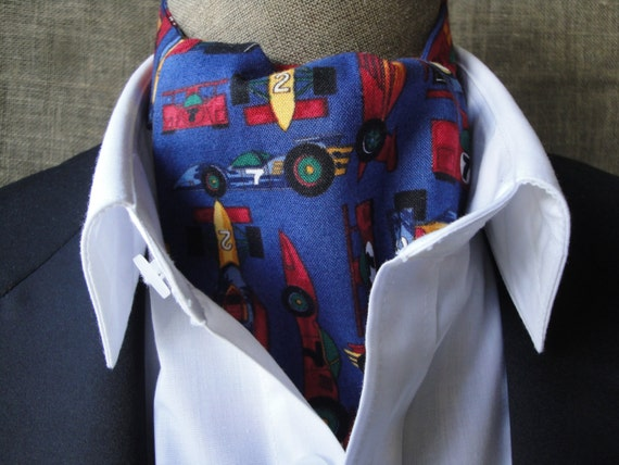 Cravat, racing cars on blue background.  One size fits all.