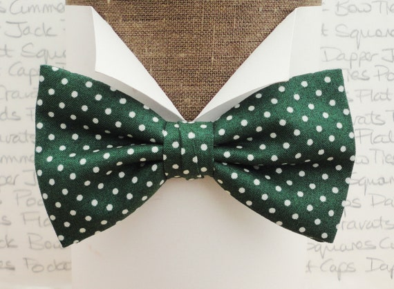 Green and White Spot Bow Tie, Wedding Bow Tie, Bow Ties For Men