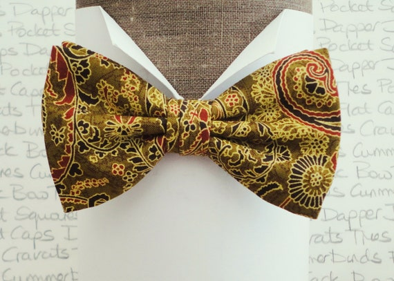 Paisley Bow Tie, Gold Paisley Bow Tie, Pre Tied or Self Tie Bow Tie, Bow Ties For Men