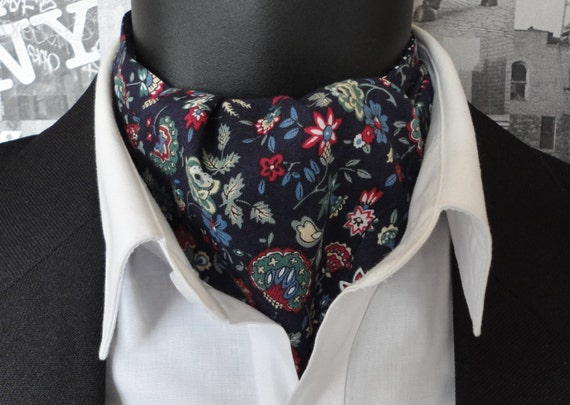 Cravat, Reversible Cravat, Floral Navy Cravat, Spots on Reverse Side