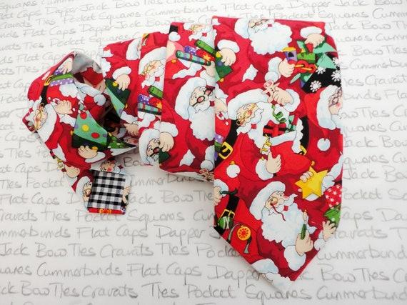 Santa Print Necktie, Christmas Tie, Xmas Ties, Neck ties for Men, Men's Neckties