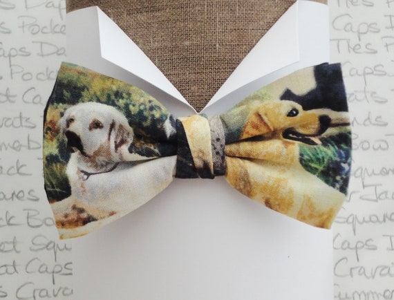 Labrador print bow tie, Retriever bow tie, bow ties for men, Pre tied bow tie