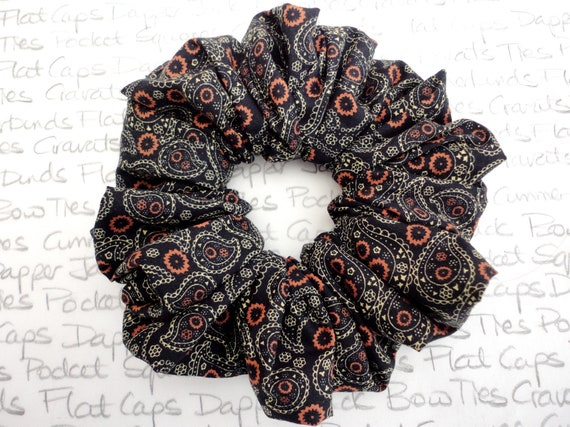 Scrunchies, Black Paisley Scrunchy, Black Scrunchy, Gifts For Girls, Birthday Gifts For Girls, Stocking Filler For Girls, Paisley Scrunchies