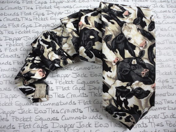 Cow Print Tie, Standard width, excellent gift for farmers.