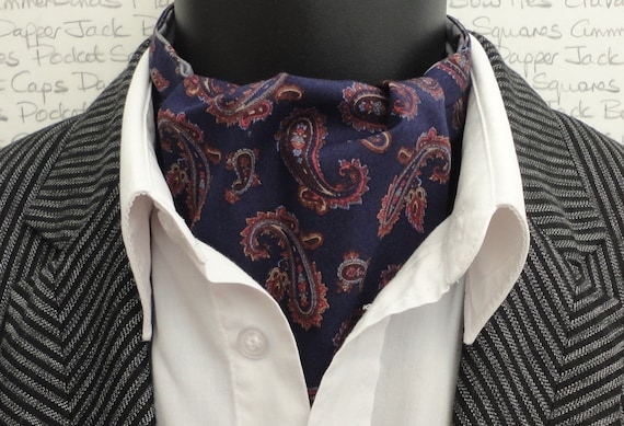Navy Blue Paisley Cravat, Ascot, Paisley Cravat, Gifts For Men, Reversible Cravat