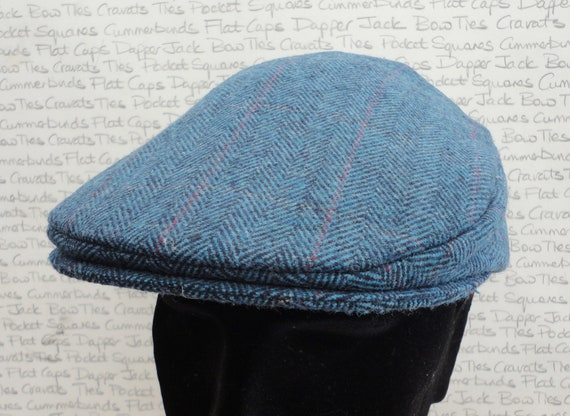 Flat cap for men or ladies, blue herringbone flat cap