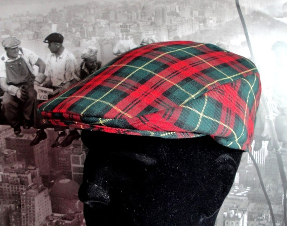 Flat Cap, red tartan flat cap for men, check flat cap, red flat cap, hats for men