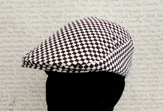 Chequered Flat Cap, Driving Hat, Racing Drivers Flat Cap