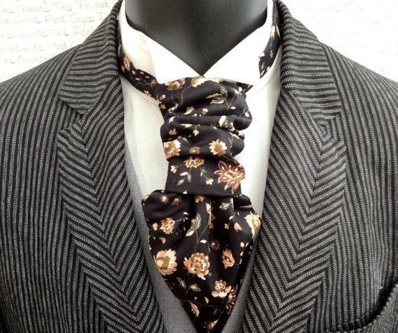 Floral Scrunchie Cravat, Black Scrunchy Cravat, Pre Tied Cravat, Scrunchie Wedding Cravat