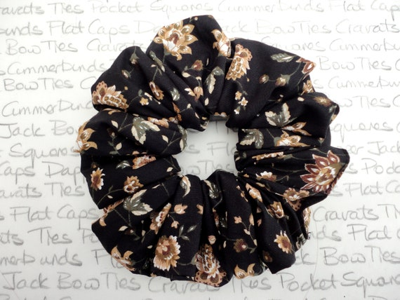 Scrunchies, Black Floral Scrunchy, Gifts For Girls, Hair Accessories, Scrunchies For Girls, Glamorous Scrunchies, Trending Hair Accessories