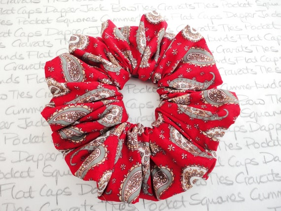 Red Paisley Hair Scrunchy, Scrunchies, Trending Scrunchies, Gifts For Girls