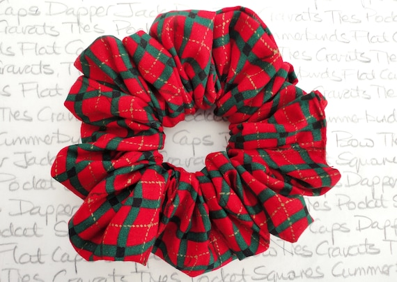 Red and Green Check Scrunchies, Gifts For Girls, Designer Scrunchy, Christmas Hair Accessories, Stocking Filler, Scrunchies, Red Scrunchies