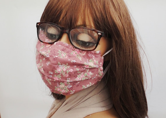 Face Mask, Pink Floral Face Mask, Face Covering, Washable, Reusable, Pocket for Filter