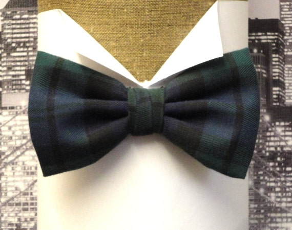 Blackwatch tartan pre tied or self tie bow tie, Burns night bow tie
