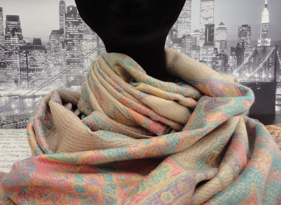 Beige and pastel coloured scarf, wrap, shawl, pashmina