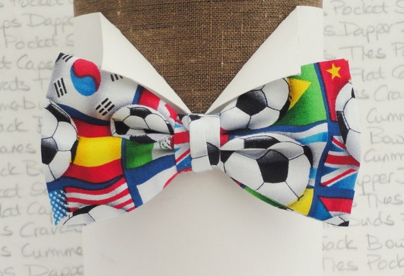 Football And World Flags Bow Tie In Self Tie Or Pre Tied Styles