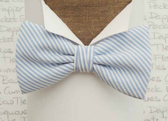 Pale Blue and White Stripe Bow Tie, Summer Bow Tie, Wedding Ties, Proms Tie