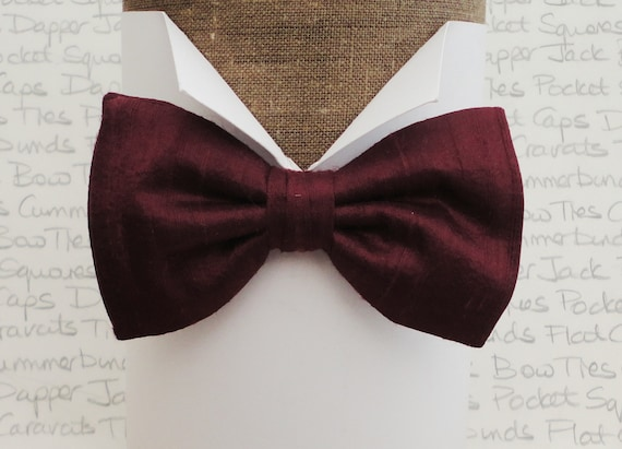 Burgundy silk dupion bow tie, bow ties for men, pre tied bow tie, self tie bow tie