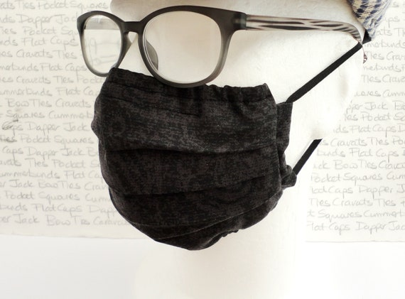 Grey and Black Paisley Face Mask, Paisley Face Covering, Face Masks UK, Washable Face Mask