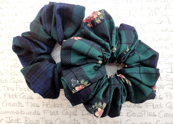 Pack Of Two Scrunchies, Blackwatch Tartan Scrunchie and a  Dark Green with Pink Flowers Scrunchie, Hair Accessories