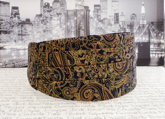 Blue paisley cummerbund, bow tie and pocket square set