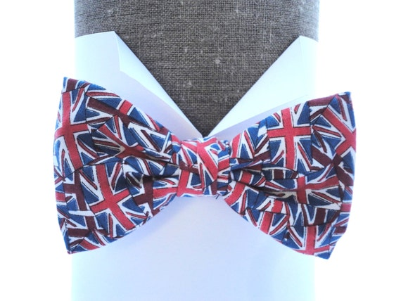 """Union Jack Proms pre tied or self tie bow tie, will fit neck size up to 20"""" (50cms)"""