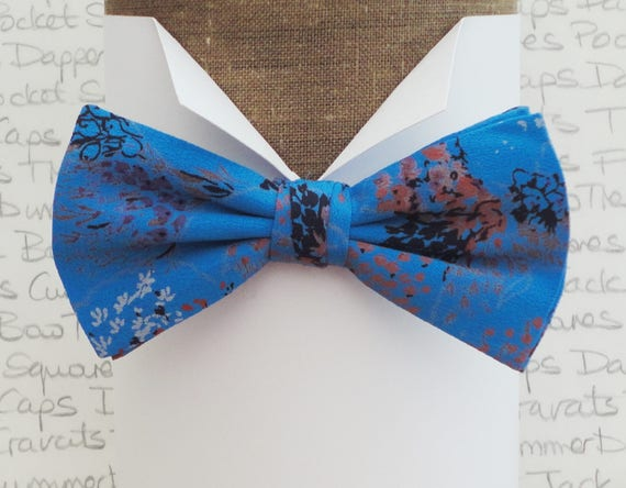 Turquoise print bow tie, bow ties for men, pre tied bow tie