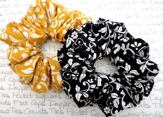 Pair of Scrunchies, Black Floral and Gold Floral Scrunchies, Large Full Scrunchie, Gifts For Girls
