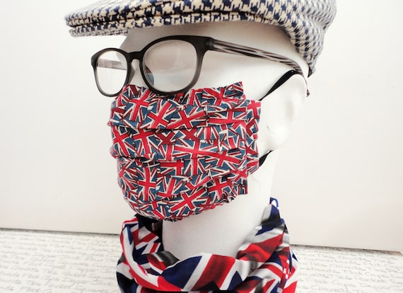 Pack of Two Union Jack Face Masks, Washable Face Mask, Pocket For Filter, Fashionable Face Mask, Adult Face Mask