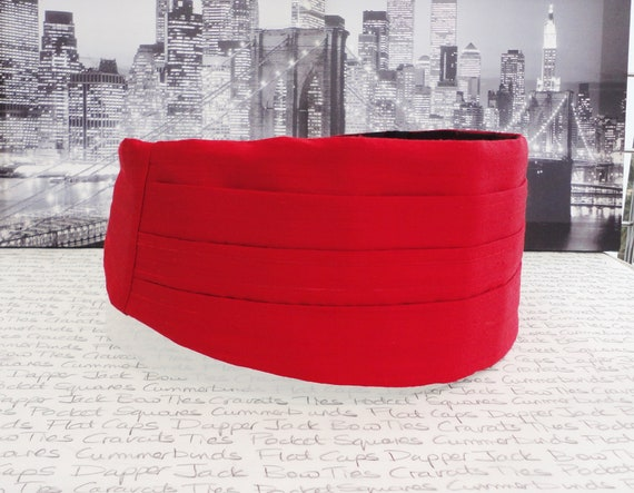 Red silk dupion cummerbund, bow tie and pocket square set