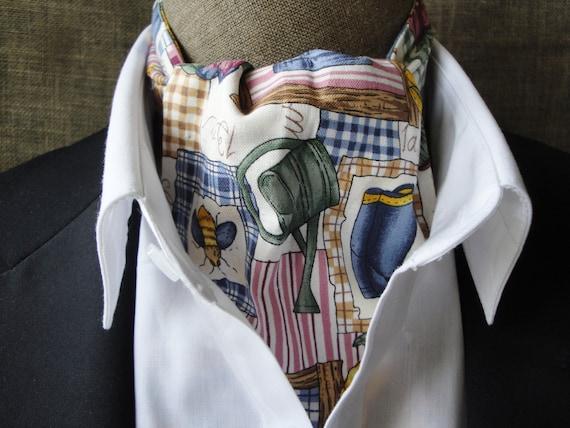 Cravat, gardening design on cream background.  One size fits all.