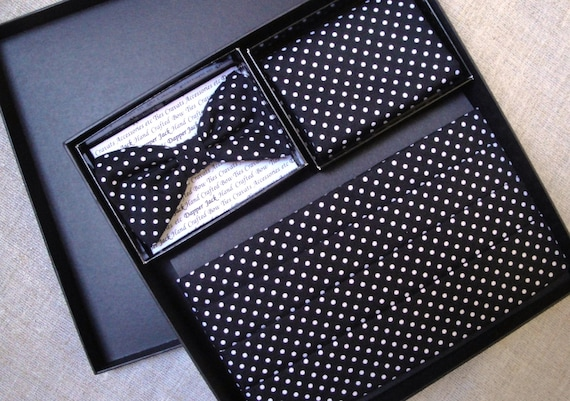 Cummerbund Bow Tie and Pocket Square Set.  Black with white spots cotton fabric.