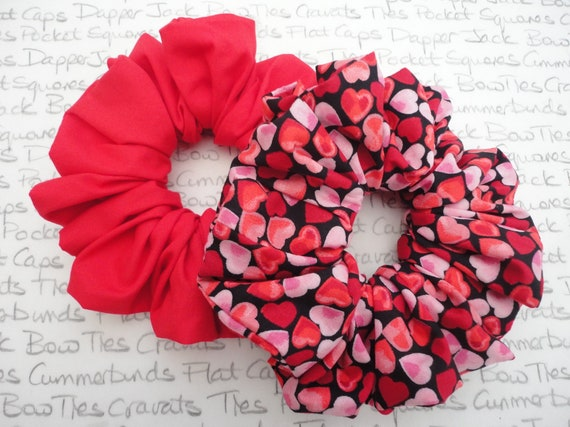 Heart Print Scrunchie, Valentines Gift For Girls, Pack of Two Scrunchies One Heart Print and One Red