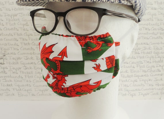 Welsh Flag Face Mask, Welsh Flag Face Covering, Welsh Dragon, Welsh Flag, Wales, Pair of Face Masks