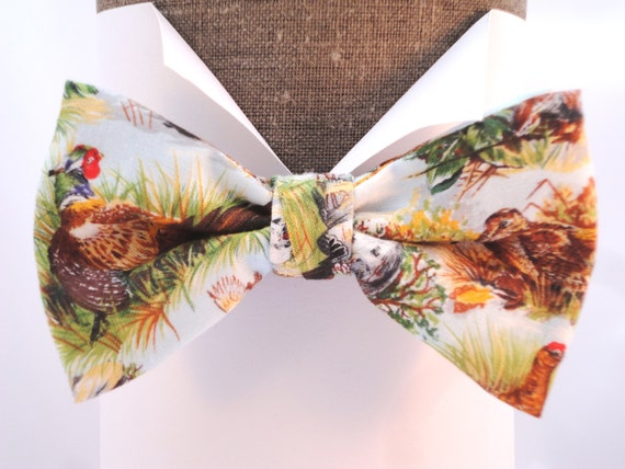 "Bow tie, pheasant print, pre tied, will fit neck size up to 20"" (50cms)"