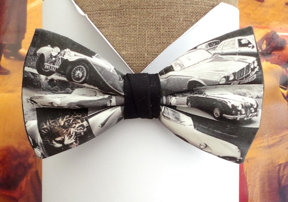 Bow ties for men, Jaguar print bow tie, black and white photo print bow tie
