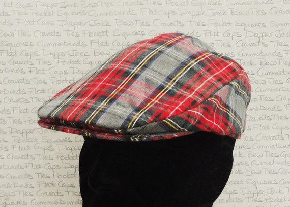 Check Flat Cap, Driving Hat, Red and Grey Flat Cap, Red Tartan Hat