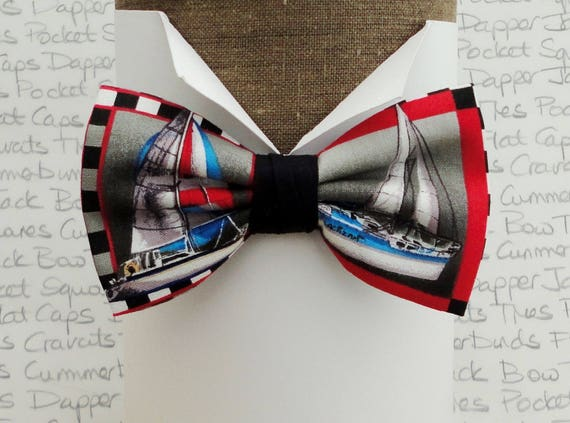 Bow ties for men, yacht print bow tie, pre tied bow tie