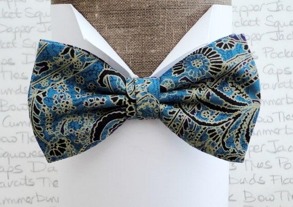 Paisley bow tie, bow ties for men, self tie or pre tied bow tie