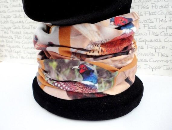 Neck tube, Snood, Pheasant print neck tube