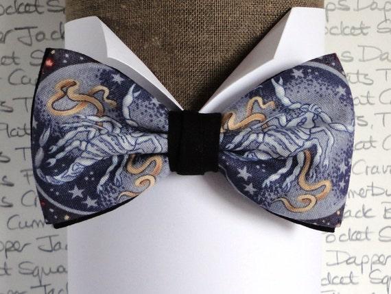 Pre tied bow tie, Scorpio print bow tie, birthday bow tie, bow ties for men