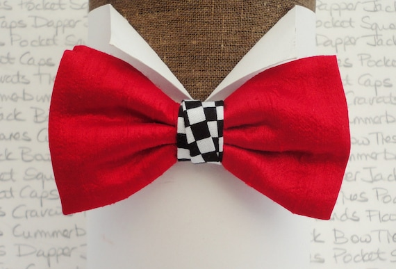 Red Silk Bow Tie With a Chequered Flag Centre Trim, Bow Ties For Men
