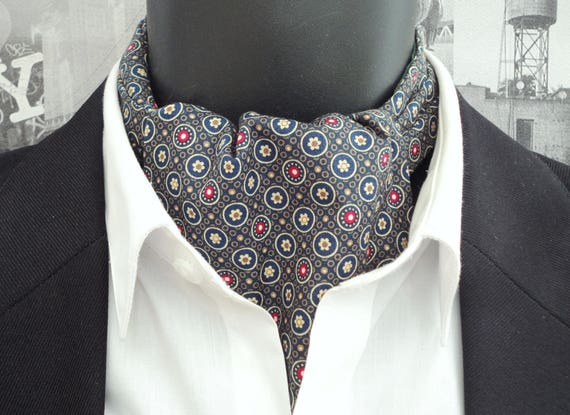 Cravat, Ascot, Union Jack print on a khaki background, reversible cravat, small floral print on reverse side