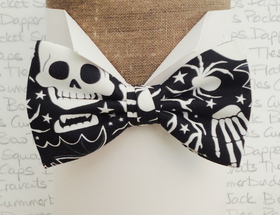 Glow in the dark, Halloween bow tie, bow ties for men, white print on a black background, self tie or pre tied bow tie