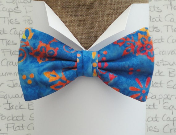 Bow tie, self tie or pre tied bow tie, turquoise and peach cotton batik