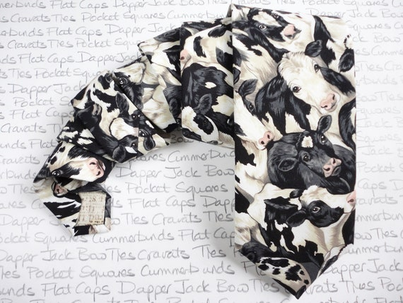 Cow Print Tie, Fathers Day Gift, Farmers Tie, Black and White Tie