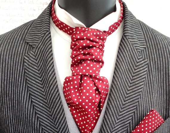 Scrunchy Wedding Cravat, Ivory Spots On a Burgundy Background, Groom Cravat, Groom Ascot
