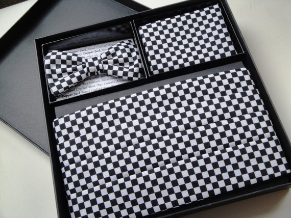 Cummerbund, Bow Tie Pocket Square Set, Black and White Chequered